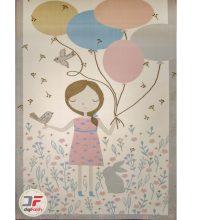 فرش کودک دخترانه بادکنک به دست کد ۶۱۴۱۳۲۰