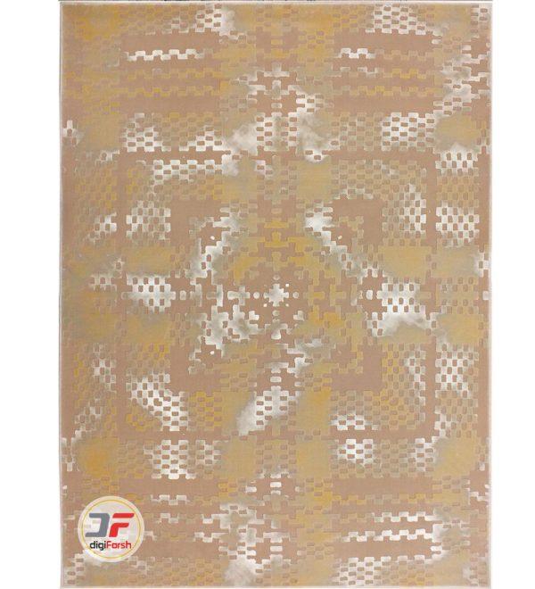 فرش وینتیج بزرگمهر طرح گل برجسته زمینه بژ کد 521011620