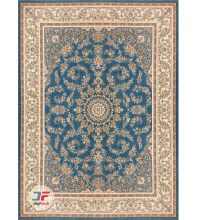 فرش ۱۲۰۰ شانه بزرگمهر کاشان-طرح گل برجسته زمینه آبی کد ۱۵۱۲۵