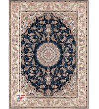 فرش بزرگمهر ۱۲۰۰ شانه – طرح گل برجسته زمینه سرمه ای کد ۱۵۱۱۹