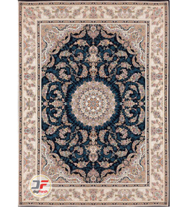 فرش بزرگمهر 1200 شانه - طرح گل برجسته زمینه سرمه ای کد 15119