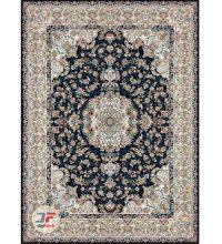 فرش ماشینی بزرگمهر ۱۲۰۰ شانه – طرح گل برجسته زمینه سرمه ای کد ۱۵۱۲۱