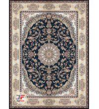 فرش کاشان ۱۲۰۰ شانه – بزرگمهر طرح گل برجسته زمینه سرمه ای کد ۱۵۱۲۴