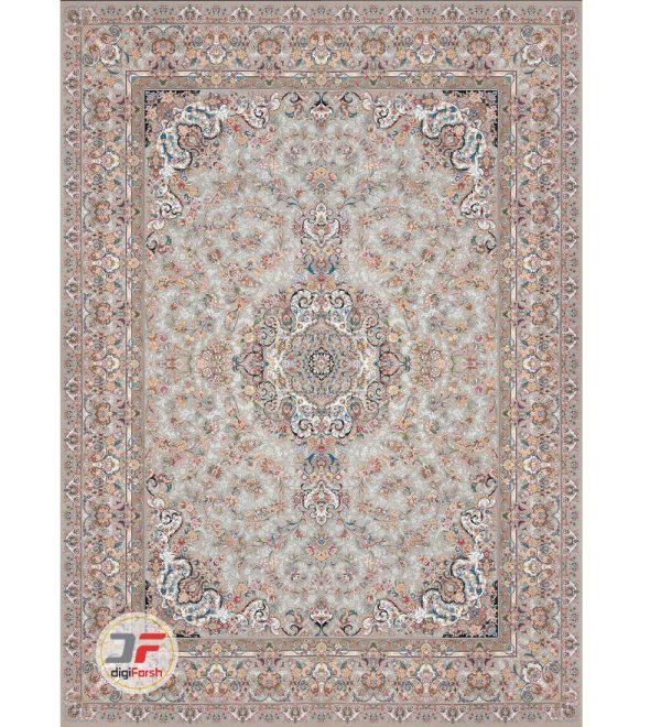 فرش بزرگمهر گل برجسته کاشان -1200 شانه زمینه نقره ای کد 15121