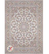 فرش ماشینی کاشان – طرح گل برجسته بزرگمهر ۱۲۰۰ شانه زمینه نقره ای کد ۱۵۱۲۵