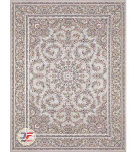 فرش ماشینی کاشان - طرح گل برجسته بزرگمهر 1200 شانه زمینه نقره ای کد 15125