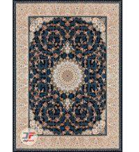 فرش ماشینی کاشان 1200 شانه - بزرگمهر طرح گل برجسته زمینه سرمه ای کد 15114