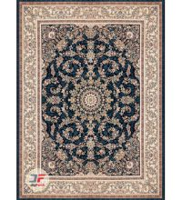 فرش گل برجسته کاشان – ۱۲۰۰ شانه بزرگمهر زمینه سرمه ای کد ۱۵۱۲۵
