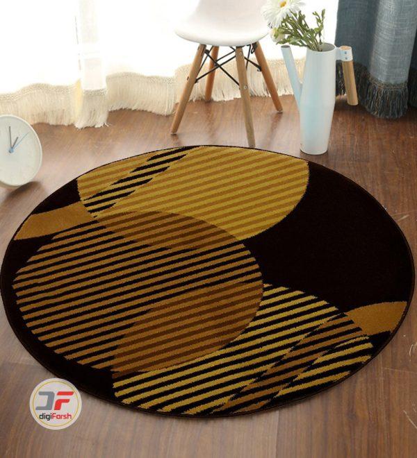 فرش گرد ماشینی طرح سه بعدی بزرگمهر زمینه بژ کد 1227