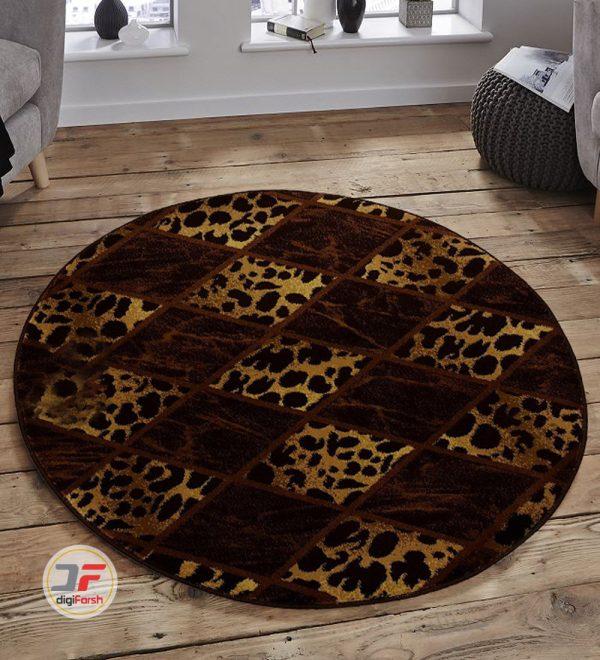 فرش گرد کاشان طرح سه بعدی بزرگمهر زمینه مشکی کد 1229