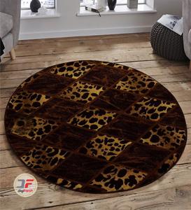 فرش گرد کاشان طرح سه بعدی بزرگمهر کد 1229