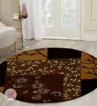 فرش ماشینی گرد (دایره) کاشان طرح سه بعدی کد ۱۳۵۶