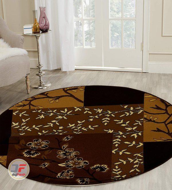 فرش ماشینی گرد کاشان طرح سه بعدی کد 1356