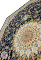 فرش 1200 شانه طرح گل برجسته کاشان زمینه سرمه ای کد 221220