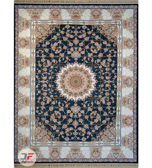 فرش ماشینی کاشان تراکم 3600 طرح گل برجسته زمینه سرمه ای کد 221242