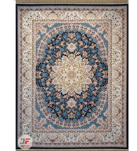فرش 1200 شانه کاشان تراکم 3600 طرح گل برجسته زمینه مشکی کد 221225