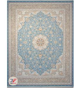 فرش گل برجسته کاشان 1200 شانه زمینه آبی تراکم 3600 کد 221248