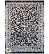 فرش گل برجسته ۱۲۰۰ شانه افشان زمینه سرمه ای کد ۲۲۱۲۱۵