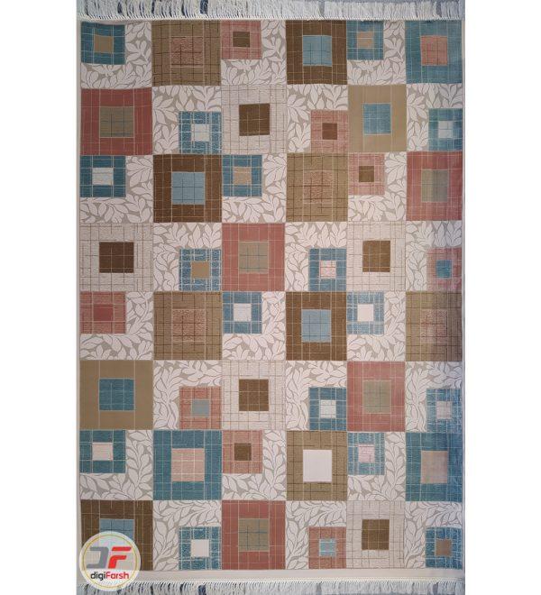 فرش ماشینی کاشان - طرح ترک زمینه روشن کد 224101