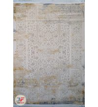 فرش کهنه نما کاشان – طرح گل برجسته زمینه فیلی کد DC 49