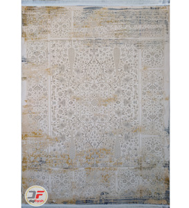 فرش کهنه نما کاشان - طرح گل برجسته زمینه فیلی کد DC 49