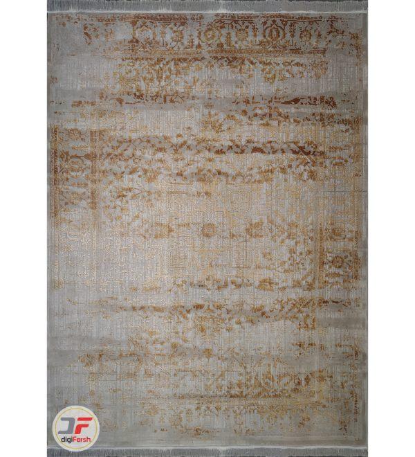 فرش ماشینی کاشان - طرح کهنه نما گل برجسته زمینه طوسی کد DC 25