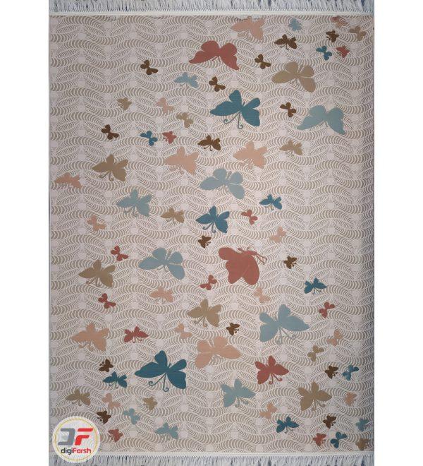فرش ترک کاشان طرح پروانه زمینه کرم کد 224105