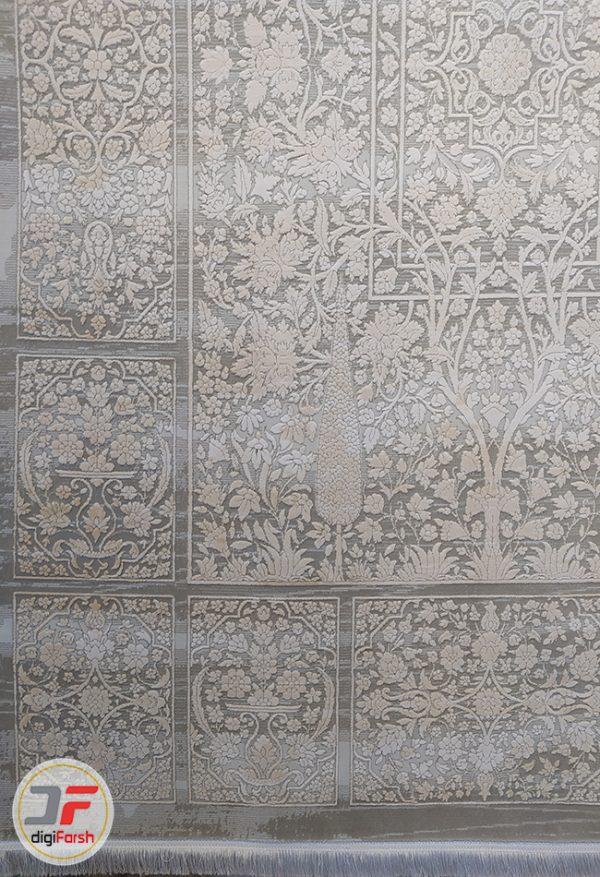 فرش ونتیج ماشینی کاشان - طرح گل برجسته زمینه طوسی کد DC 48