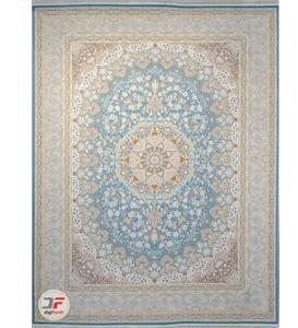 فرش ماشینی کاشان طرح 1500 شانه زمنه آبی کد 221514