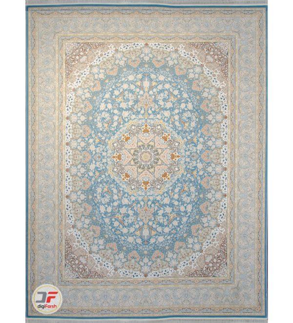 فرش ماشینی کاشان طرح 1500 شانه گل برجسته زمینه آبی کد 221514
