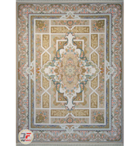 فرش گل برجسته کاشان 1200 شانه زمینه فیلی کد 221216