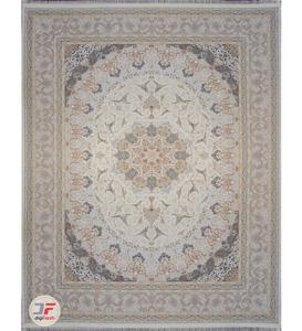 فرش ماشینی کاشان 1500 شانه گل برجسته زمینه فیلی کد 221515
