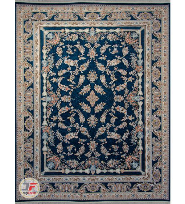 فرش ماشینی 1500 شانه کاشان زمینه سرمه ای کد 221516