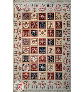 فرش سنتی ماشینی کاشان طرح ارغوان زمینه کرم کد 2270803