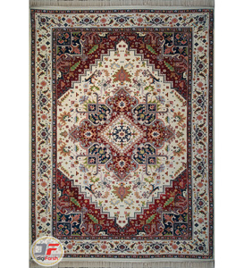 فرش سنتی ماشینی کاشان طرح هریس تبریز زمینه کرم کد 2270806