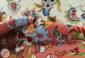 فرش سنتی افشان کاشان طرح درنا زمینه کرم کد 2270810