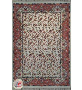 فرش سنتی ماشینی افشان طرح درنا زمینه کرم کد 2270810