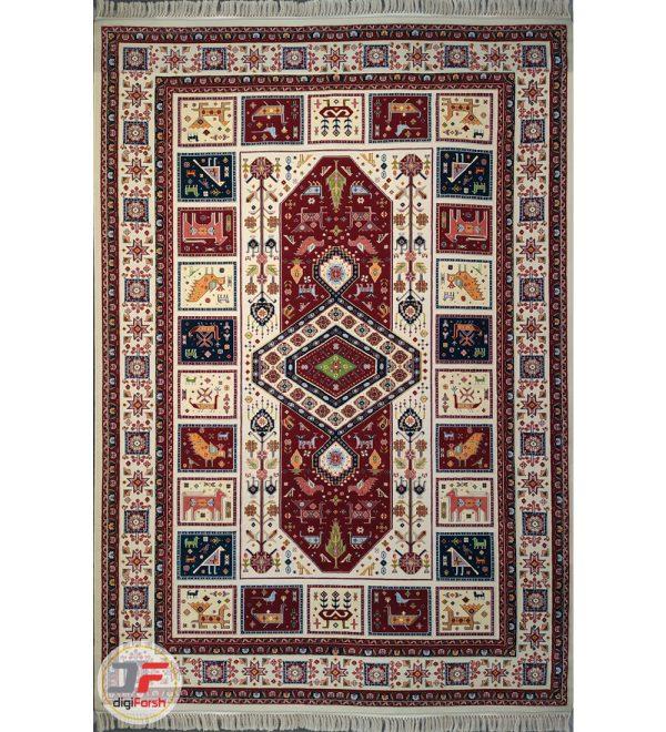 فرش سنتی ماشینی کاشان طرح الیماه زمینه کرم کد 2270804