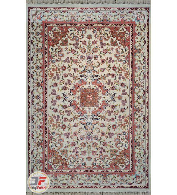 فرش دستباف گونه طرح گلرخ کاشان زمینه کرم کد 2270805