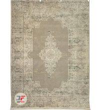 فرش ماشینی ۷۰۰ شانه وینتیج کاشان زمینه بادامی کد ۳۱۷T13