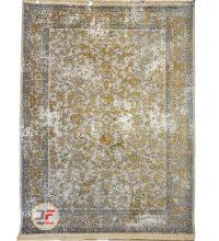 فرش کاشان طرح پتینه گل برجسته زمینه فیلی کد ۵۴۴۸