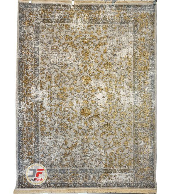 فرش کاشان طرح پتینه گل برجسته زمینه فیلی کد 5448