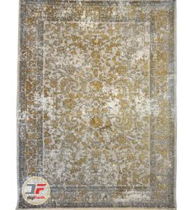 فرش ماشینی کهنه نما 700 شانه کاشان زمینه فیلی کد 5448