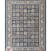فرش 1200 شانه طرح باغ فین کاشان - گل برجسته زمینه سرمه ای کد 221262