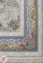 فرش ماشینی افشان کاشان طرح دربار    1200 شانه گل برجسته نقره ای کد 221258