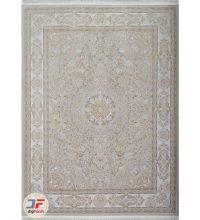 فرش ماشینی کاشان طرح استانبول | ۱۲۰۰ شانه گل برجسته زمینه صدفی کد ۲۲۱۲۵۵