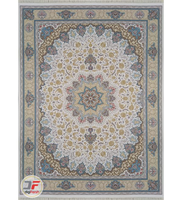 فرش ماشینی کاشان طرح نایین اصفهان زمینه کرم - 1200 شانه برجسته کد 221261