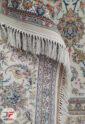 فرش ماشینی افشان کاشان طرح صوفی | 1200 شانه گل برجسته کرم کد 221265