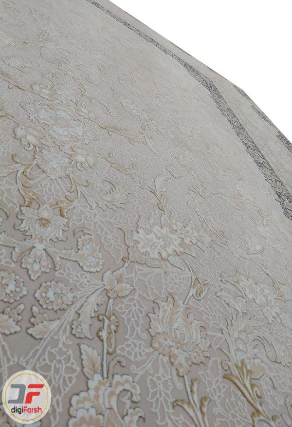فرش ماشینی 1200 شانه طرح حریر صدفی | گل برجسته کاشان کد 221267