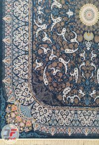 فرش ماشینی کاشان طرح شاه دخت | 1200 شانه گل برجسته زمینه نفتی کد 221259